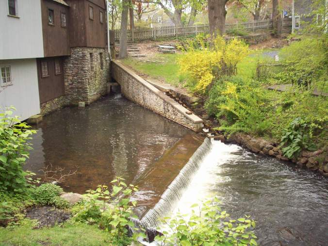 Town Brook passes through Jenney Pond at the Plimoth Grist Mill on its way to Brewster Gardens and Plymouth Harbor.