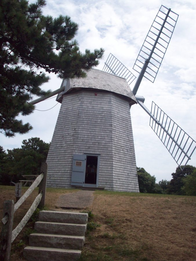 A side view of Godfrey Windmill in Chatham, MA