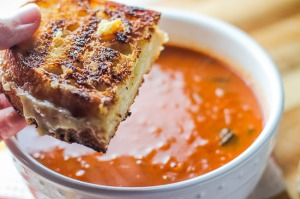 Rustic Tomato Basil Soup and Grilled Cheese Sandwiches