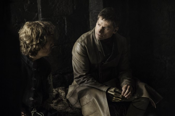 "Tyrion (Peter Dinklage) and Jaime Lannister (Nikolaj Coster-Waldau) have a brotherly conversation on ""Game of Thrones."""