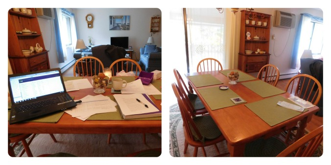 My dining room table on Day 1 of Draft #3 (left) and the day after finishing Draft #3 (right).