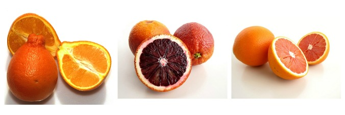 From left to right: tangeloes, blood oranges, and cara cara oranges.