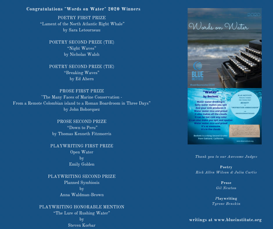 Blue Institute Words on Water 2020 winners